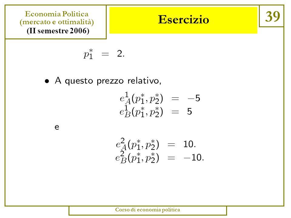 Esercizio 38 Economia Politica (mercato e ottimalità) (II semestre 2006) Corso di economia politica