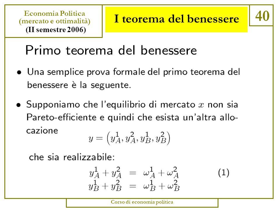 Esercizio 39 Economia Politica (mercato e ottimalità) (II semestre 2006) Corso di economia politica