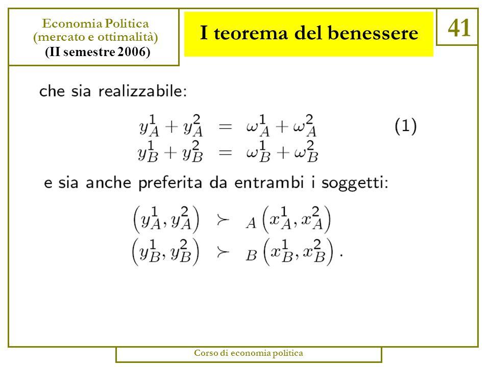 I teorema del benessere 40 Economia Politica (mercato e ottimalità) (II semestre 2006) Corso di economia politica