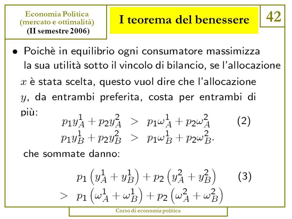 I teorema del benessere 41 Economia Politica (mercato e ottimalità) (II semestre 2006) Corso di economia politica