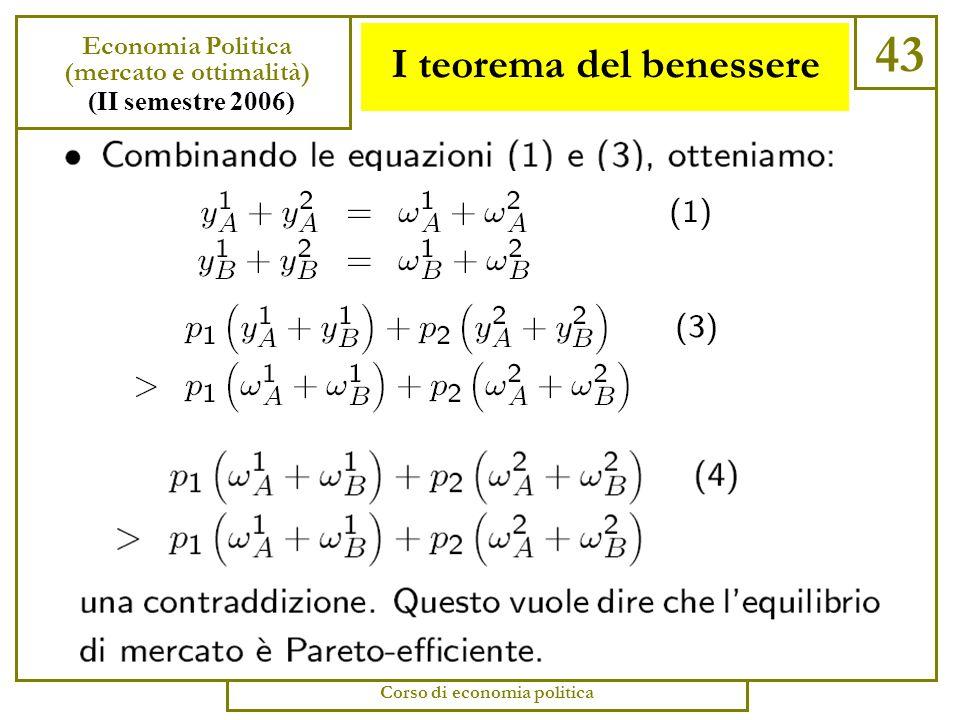 I teorema del benessere 42 Economia Politica (mercato e ottimalità) (II semestre 2006) Corso di economia politica