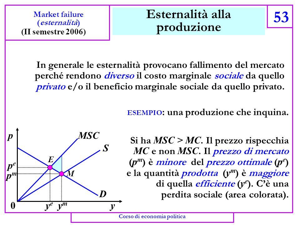 Il teorema di Coase 52 Market failure (esternalità) (II semestre 2006) Corso di economia politica