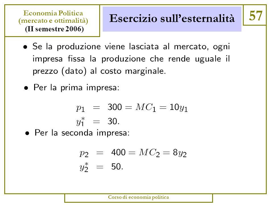 Esercizio sullesternalità 56 Economia Politica (mercato e ottimalità) (II semestre 2006) Corso di economia politica