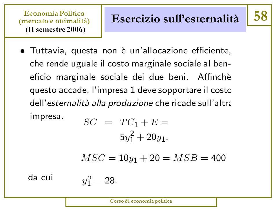 Esercizio sullesternalità 57 Economia Politica (mercato e ottimalità) (II semestre 2006) Corso di economia politica