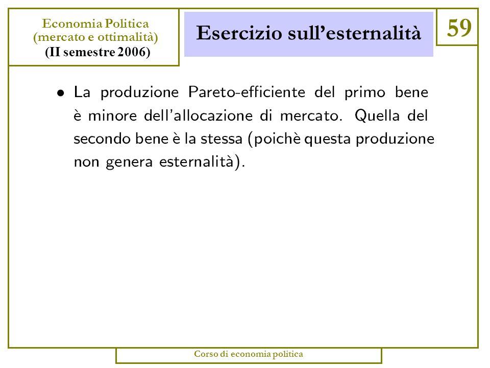 Esercizio sullesternalità 58 Economia Politica (mercato e ottimalità) (II semestre 2006) Corso di economia politica