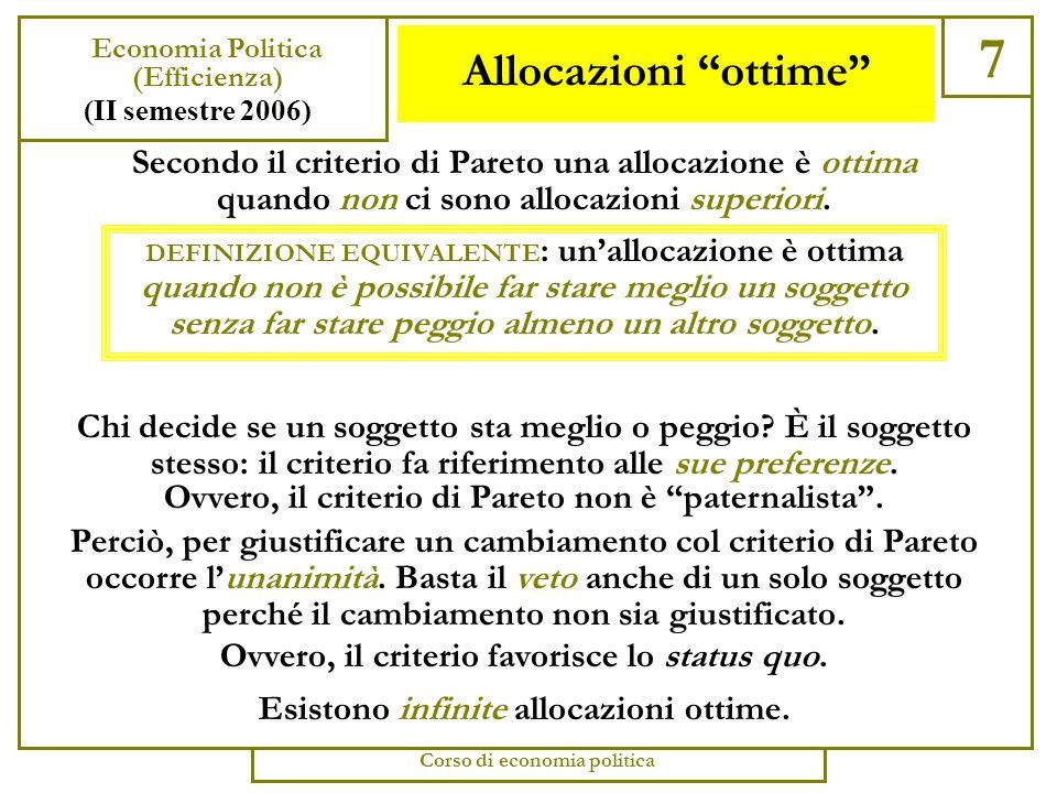 Il criterio di Pareto 6 Economia Politica (Efficienza) (II semestre 2006) Corso di economia politica Le varie nozioni di efficienza che abbiamo visto forniscono dei criteri parziali per ordinare le allocazioni: in particolare, ogni allocazione inefficiente è dominata dalla corrispondente allocazione efficiente, che le è preferibile.