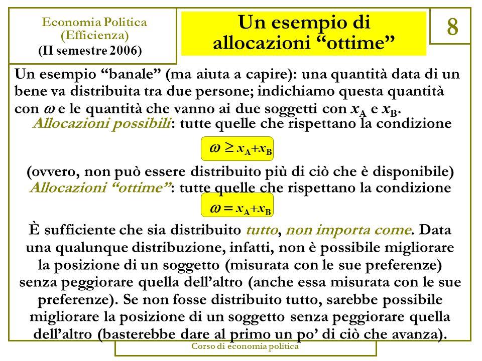 Allocazioni ottime 7 Economia Politica (Efficienza) (II semestre 2006) Corso di economia politica Secondo il criterio di Pareto una allocazione è ottima quando non ci sono allocazioni superiori.