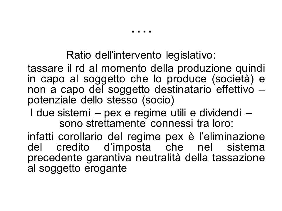 …. Ratio dellintervento legislativo: tassare il rd al momento della produzione quindi in capo al soggetto che lo produce (società) e non a capo del so