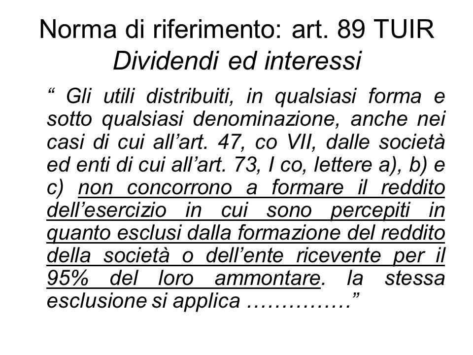 Norma di riferimento: art. 89 TUIR Dividendi ed interessi Gli utili distribuiti, in qualsiasi forma e sotto qualsiasi denominazione, anche nei casi di