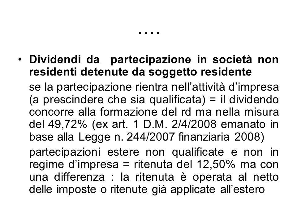 …. Dividendi da partecipazione in società non residenti detenute da soggetto residente se la partecipazione rientra nellattività dimpresa (a prescinde