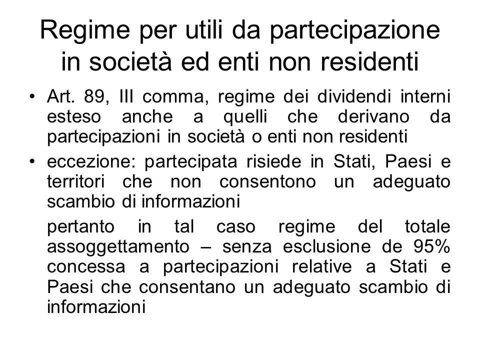 Regime per utili da partecipazione in società ed enti non residenti Art. 89, III comma, regime dei dividendi interni esteso anche a quelli che derivan