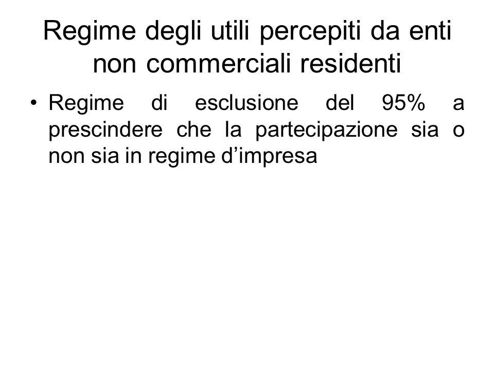 Regime degli utili percepiti da enti non commerciali residenti Regime di esclusione del 95% a prescindere che la partecipazione sia o non sia in regim