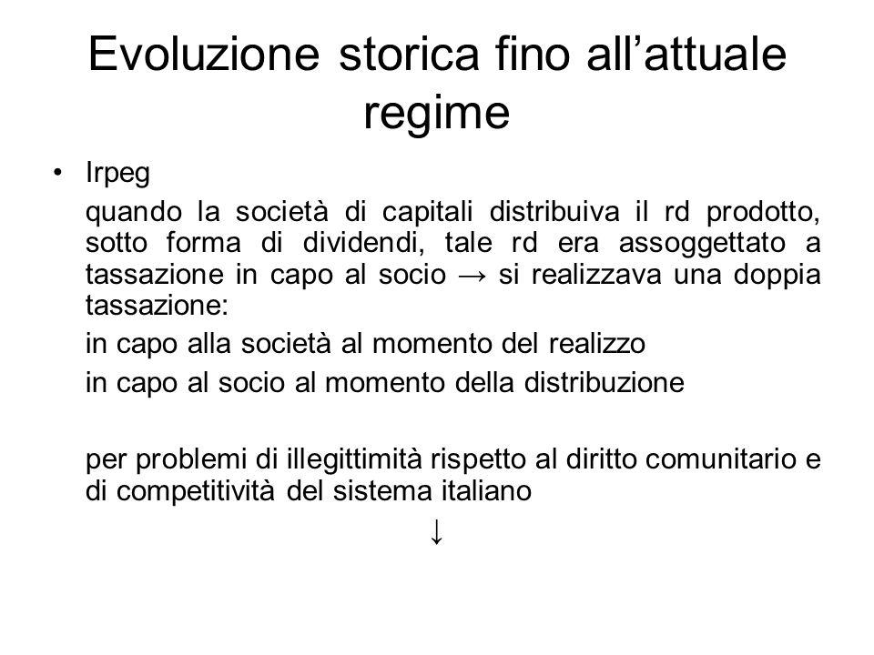 Evoluzione storica fino allattuale regime Irpeg quando la società di capitali distribuiva il rd prodotto, sotto forma di dividendi, tale rd era assogg