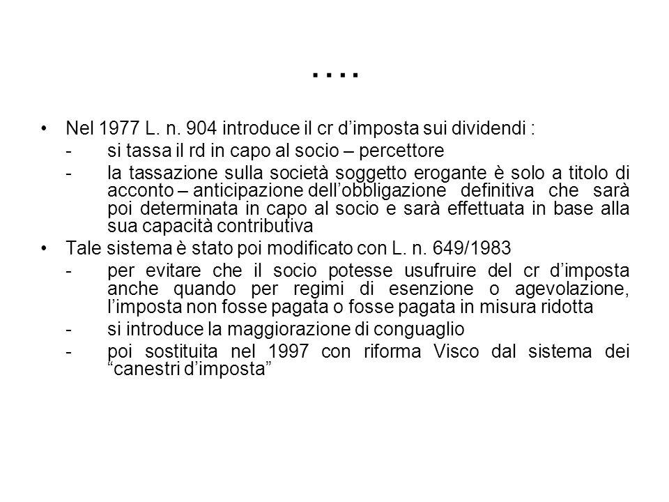 …. Nel 1977 L. n. 904 introduce il cr dimposta sui dividendi : - si tassa il rd in capo al socio – percettore - la tassazione sulla società soggetto e