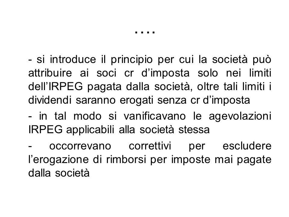 …. - si introduce il principio per cui la società può attribuire ai soci cr dimposta solo nei limiti dellIRPEG pagata dalla società, oltre tali limiti