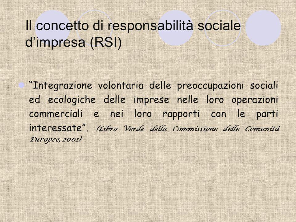 Il concetto di responsabilità sociale dimpresa (RSI) Integrazione volontaria delle preoccupazioni sociali ed ecologiche delle imprese nelle loro operazioni commerciali e nei loro rapporti con le parti interessate.