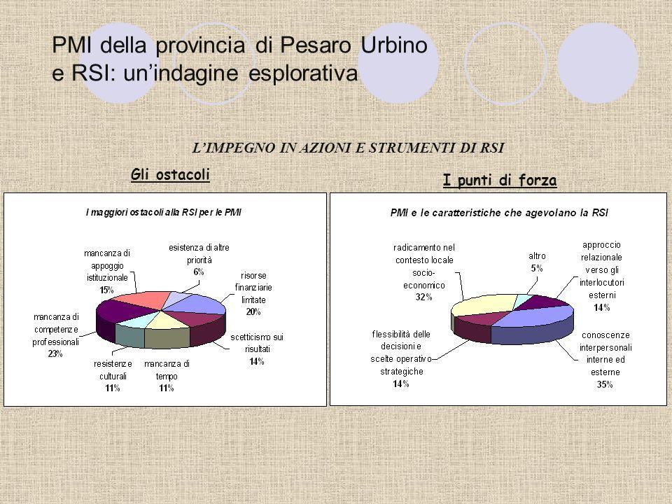PMI della provincia di Pesaro Urbino e RSI: unindagine esplorativa LIMPEGNO IN AZIONI E STRUMENTI DI RSI PMI e bilancio sociale, le ragioni di un rapp