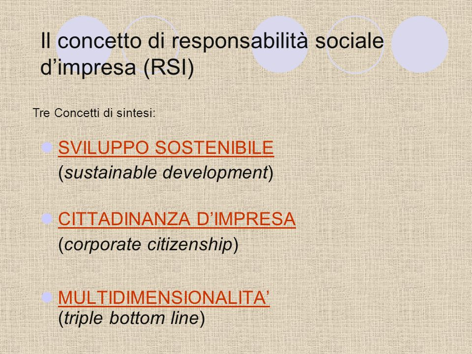 Il concetto di responsabilità sociale dimpresa (RSI) SVILUPPO SOSTENIBILE (sustainable development) CITTADINANZA DIMPRESA (corporate citizenship) MULTIDIMENSIONALITA (triple bottom line) Tre Concetti di sintesi: