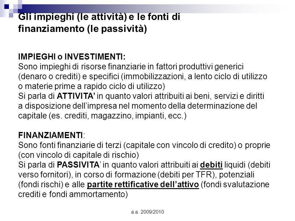 a.a. 2009/2010 Gli impieghi (le attività) e le fonti di finanziamento (le passività) IMPIEGHI o INVESTIMENTI: Sono impieghi di risorse finanziarie in