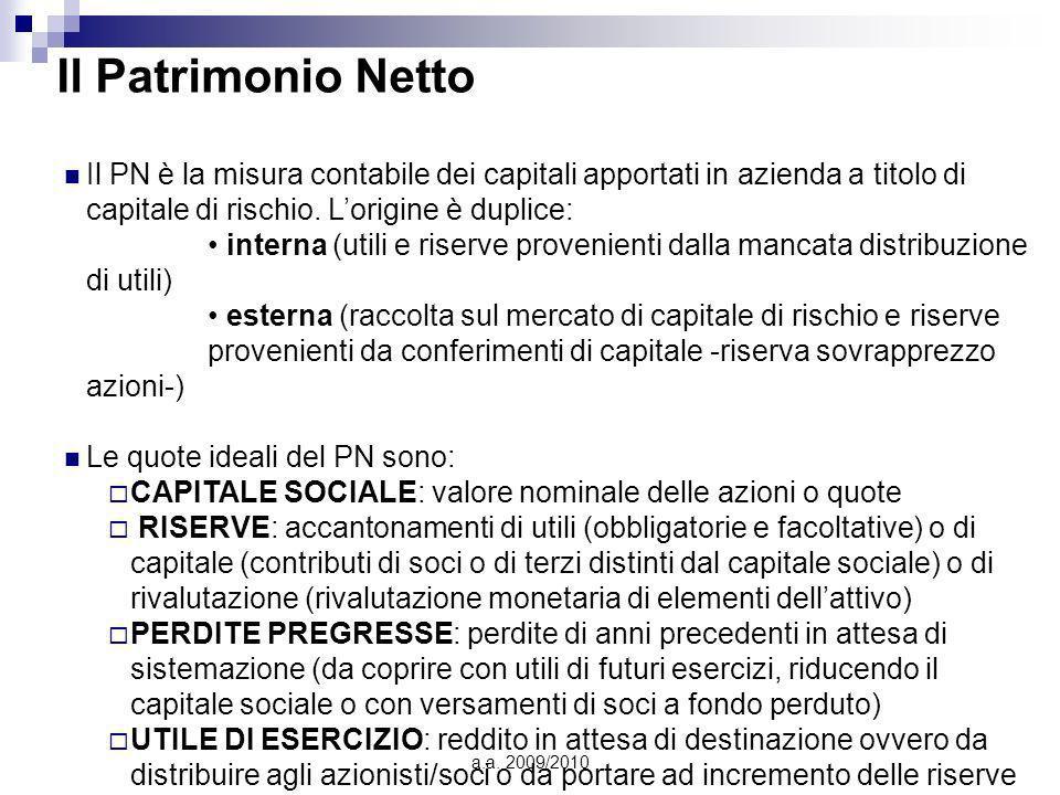 a.a. 2009/2010 Il Patrimonio Netto Il PN è la misura contabile dei capitali apportati in azienda a titolo di capitale di rischio. Lorigine è duplice: