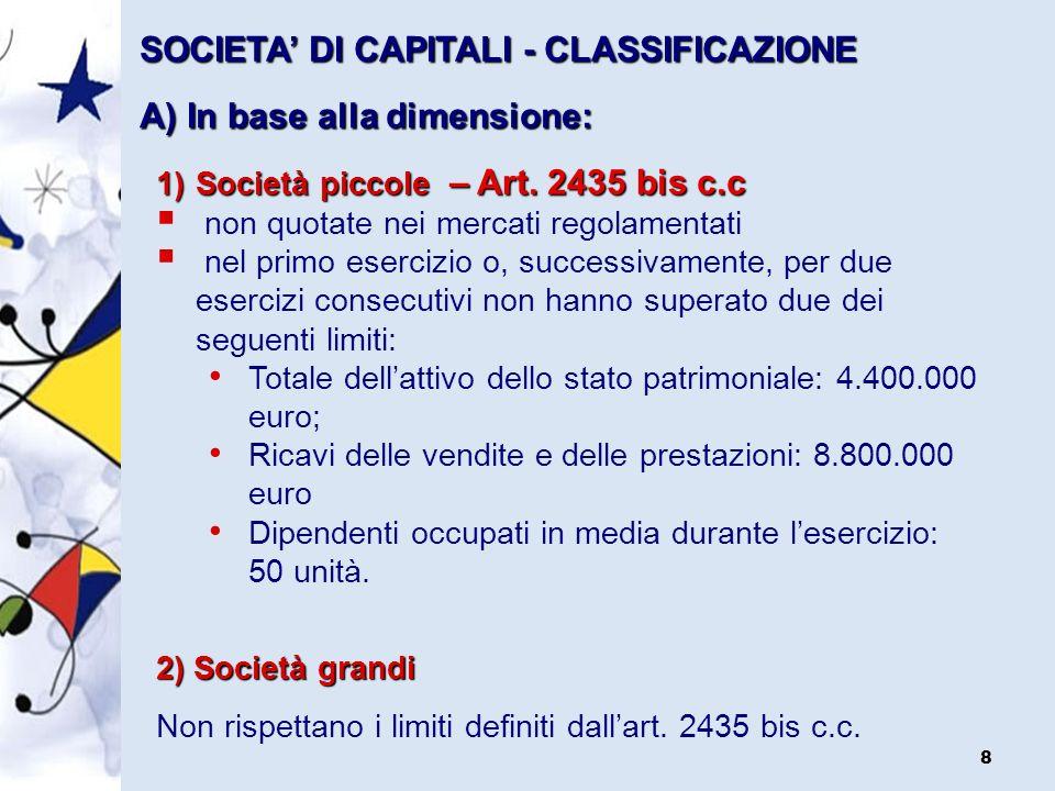 58 STATO PATRIMONIALE Aspetti collaterali Struttura dello Stato Patrimoniale e del Conto Economico (art.