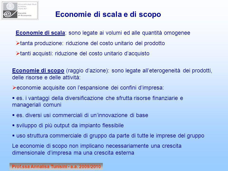 Prof.ssa Annalisa Tunisini - a.a. 2009/2010 Economie di scala e di scopo Economie di scala: sono legate ai volumi ed alle quantità omogenee tanta prod