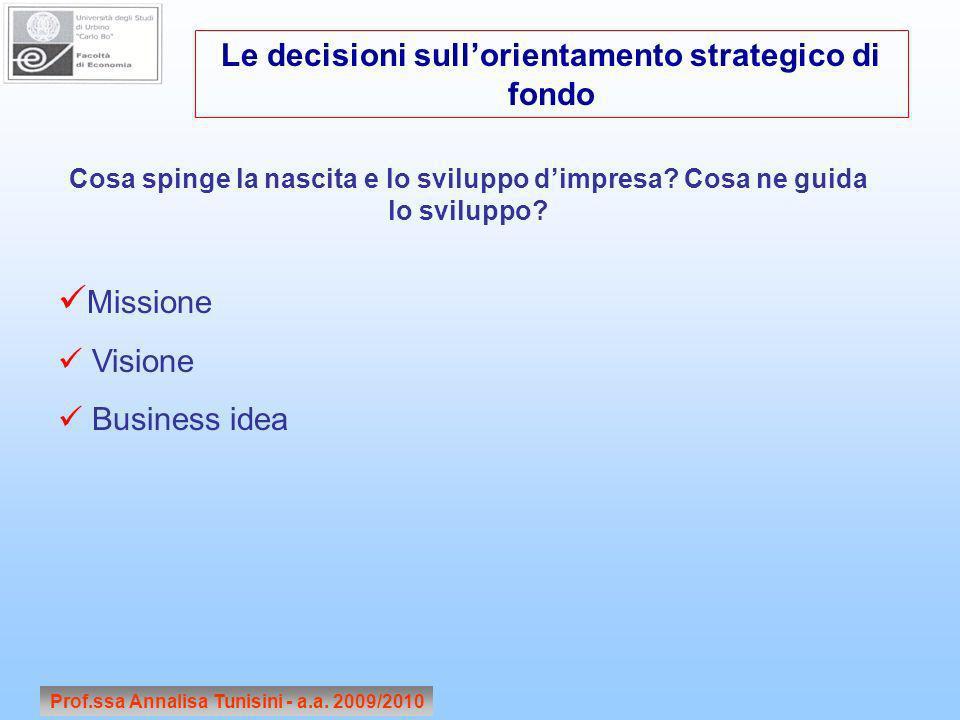 Prof.ssa Annalisa Tunisini - a.a. 2009/2010 Cosa spinge la nascita e lo sviluppo dimpresa? Cosa ne guida lo sviluppo? Missione Visione Business idea L