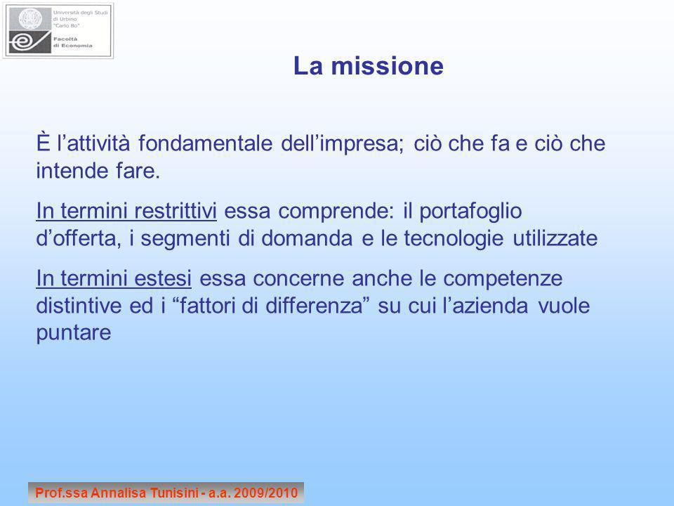 Prof.ssa Annalisa Tunisini - a.a. 2009/2010 È lattività fondamentale dellimpresa; ciò che fa e ciò che intende fare. In termini restrittivi essa compr
