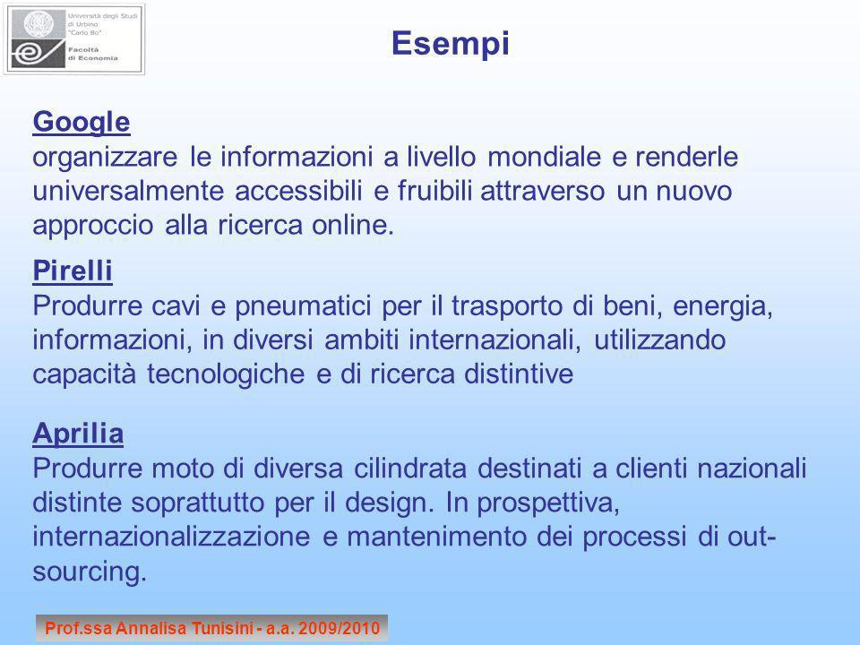 Prof.ssa Annalisa Tunisini - a.a. 2009/2010 Google organizzare le informazioni a livello mondiale e renderle universalmente accessibili e fruibili att