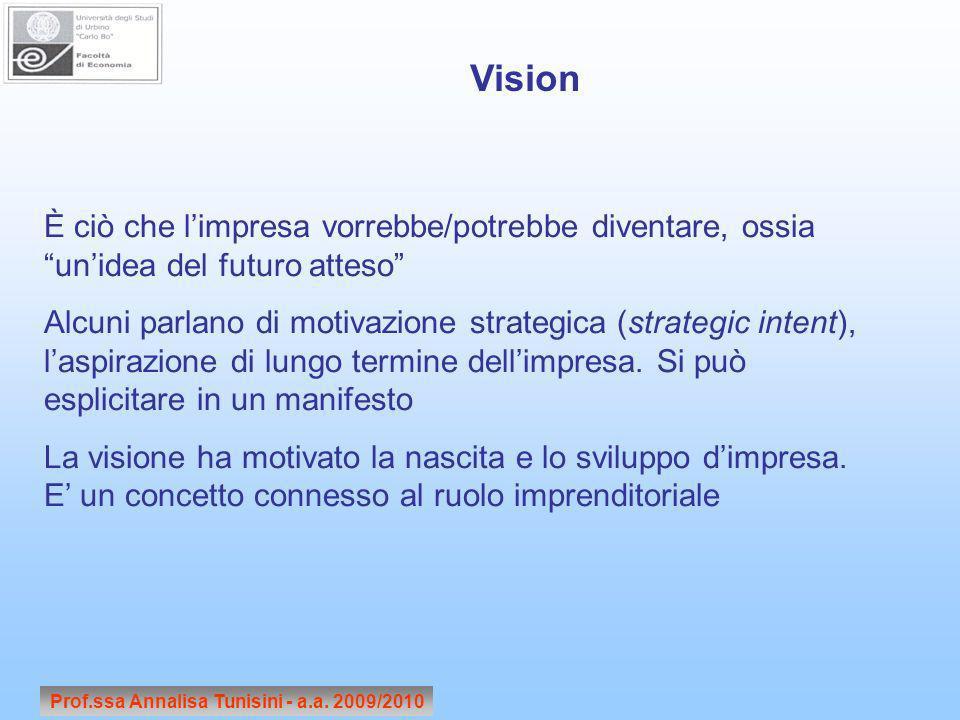 Prof.ssa Annalisa Tunisini - a.a. 2009/2010 È ciò che limpresa vorrebbe/potrebbe diventare, ossia unidea del futuro atteso Alcuni parlano di motivazio