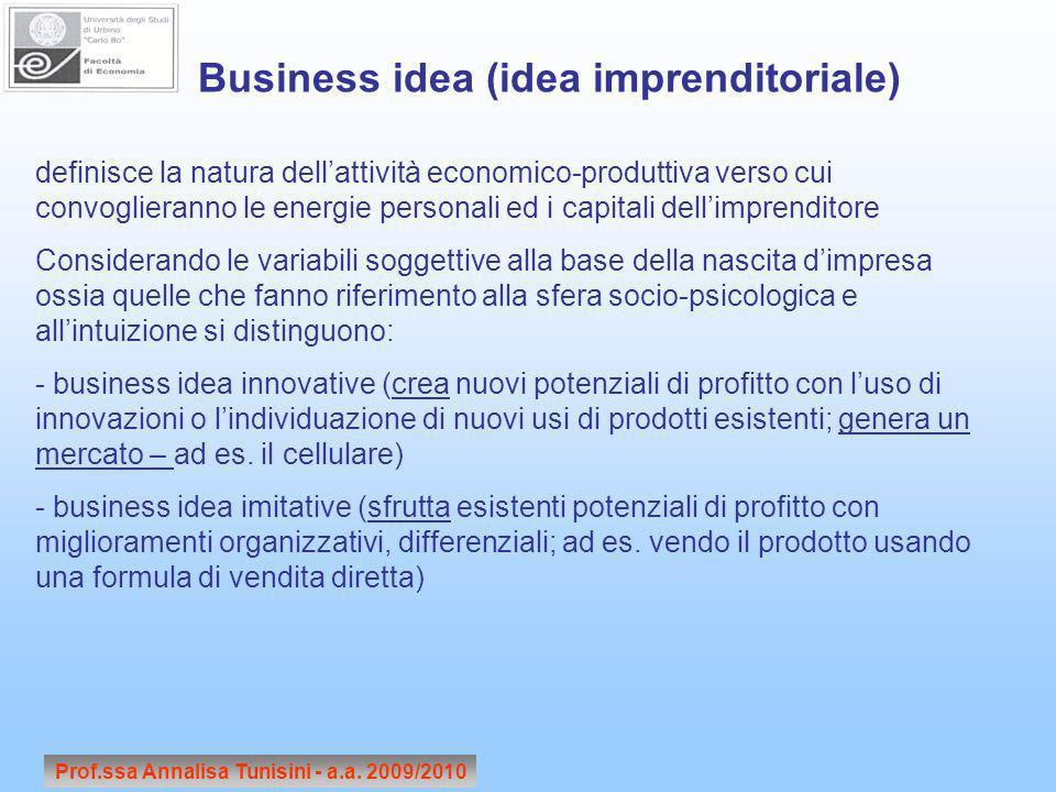Prof.ssa Annalisa Tunisini - a.a. 2009/2010 definisce la natura dellattività economico-produttiva verso cui convoglieranno le energie personali ed i c