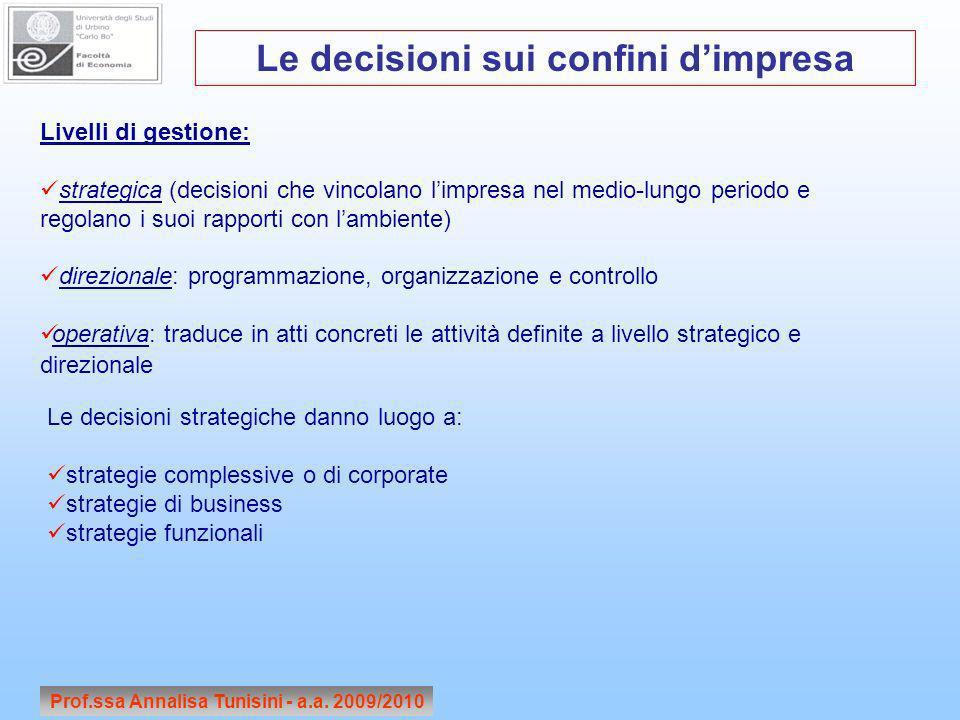 Prof.ssa Annalisa Tunisini - a.a. 2009/2010 Le decisioni sui confini dimpresa Livelli di gestione: strategica (decisioni che vincolano limpresa nel me