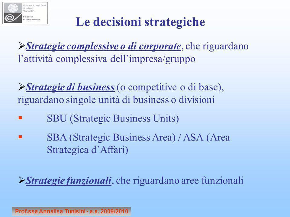 Prof.ssa Annalisa Tunisini - a.a. 2009/2010 Le decisioni strategiche Strategie complessive o di corporate, che riguardano lattività complessiva dellim