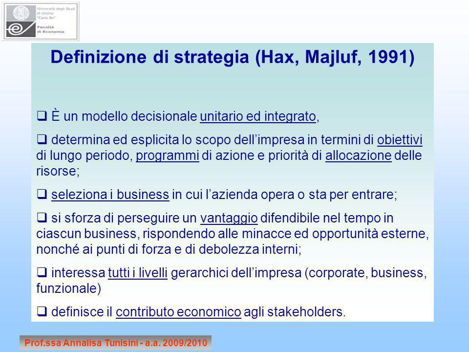 Prof.ssa Annalisa Tunisini - a.a. 2009/2010 Definizione di strategia (Hax, Majluf, 1991) È un modello decisionale unitario ed integrato, determina ed