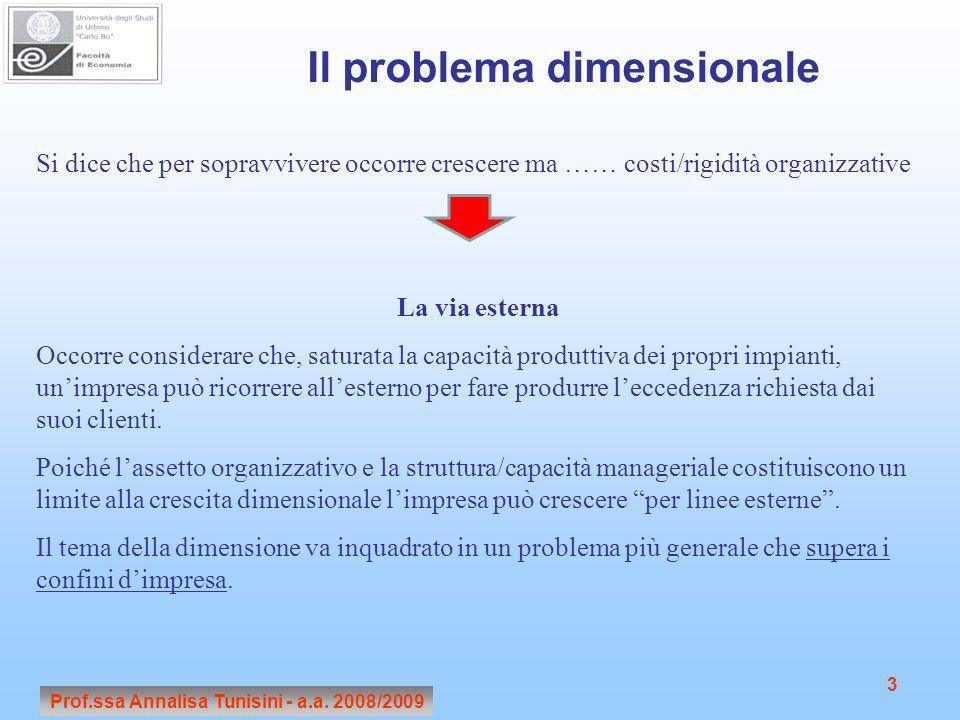 Prof.ssa Annalisa Tunisini - a.a. 2009/2010Prof.ssa Annalisa Tunisini - a.a. 2008/2009 3 Il problema dimensionale Si dice che per sopravvivere occorre
