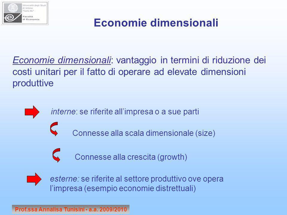 Prof.ssa Annalisa Tunisini - a.a. 2009/2010 Economie dimensionali Economie dimensionali: vantaggio in termini di riduzione dei costi unitari per il fa