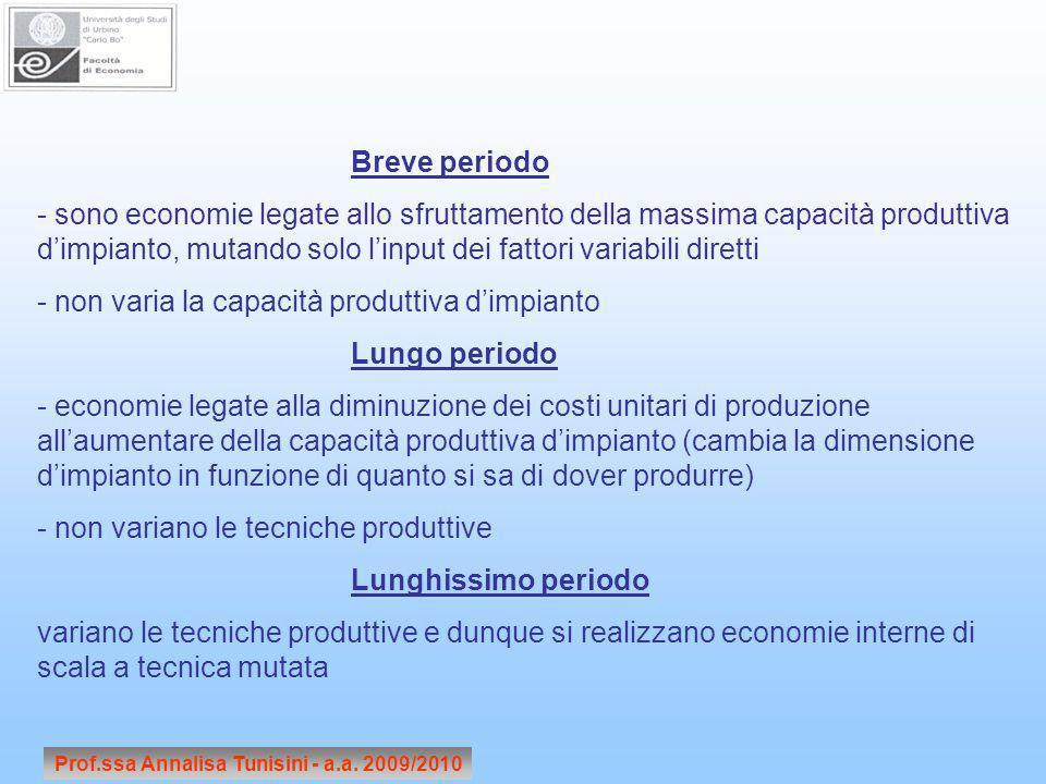 Breve periodo - sono economie legate allo sfruttamento della massima capacità produttiva dimpianto, mutando solo linput dei fattori variabili diretti