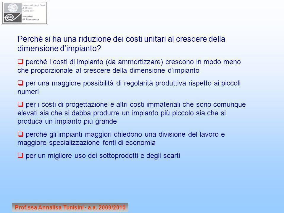 Prof.ssa Annalisa Tunisini - a.a. 2009/2010 Perché si ha una riduzione dei costi unitari al crescere della dimensione dimpianto? perché i costi di imp