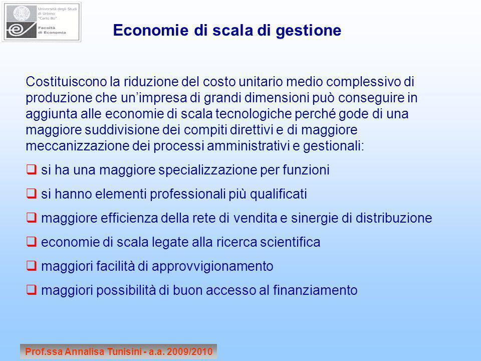 Prof.ssa Annalisa Tunisini - a.a. 2009/2010 Economie di scala di gestione Costituiscono la riduzione del costo unitario medio complessivo di produzion