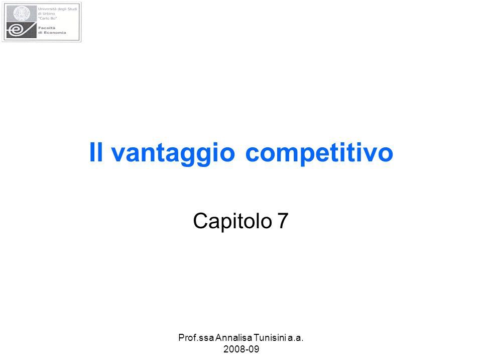 Prof.ssa Annalisa Tunisini a.a. 2008-09 Il vantaggio competitivo Capitolo 7