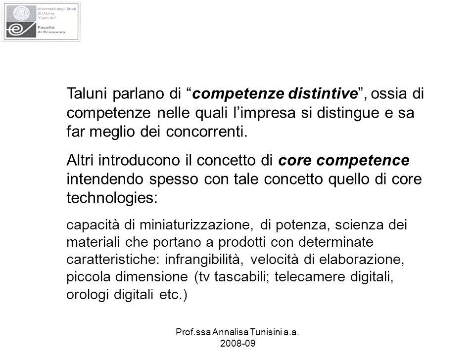 Prof.ssa Annalisa Tunisini a.a. 2008-09 Taluni parlano di competenze distintive, ossia di competenze nelle quali limpresa si distingue e sa far meglio