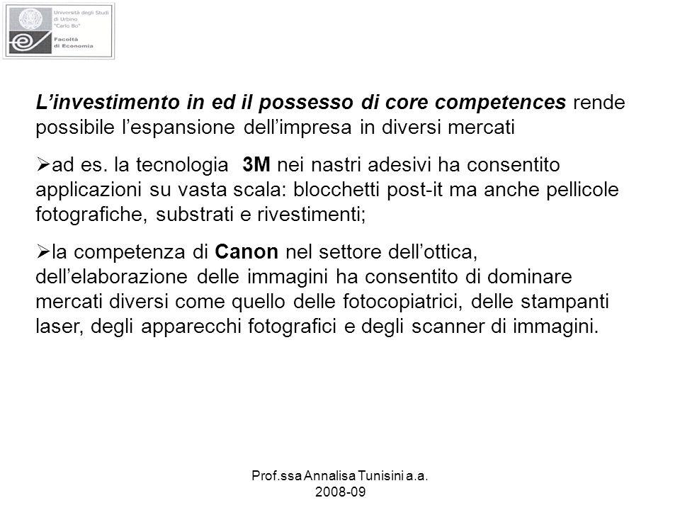 Prof.ssa Annalisa Tunisini a.a. 2008-09 Linvestimento in ed il possesso di core competences rende possibile lespansione dellimpresa in diversi mercati