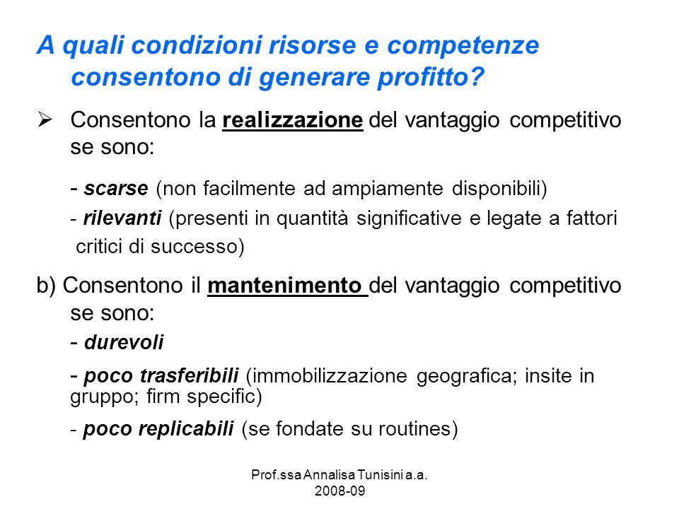 Prof.ssa Annalisa Tunisini a.a. 2008-09 A quali condizioni risorse e competenze consentono di generare profitto? Consentono la realizzazione del vanta