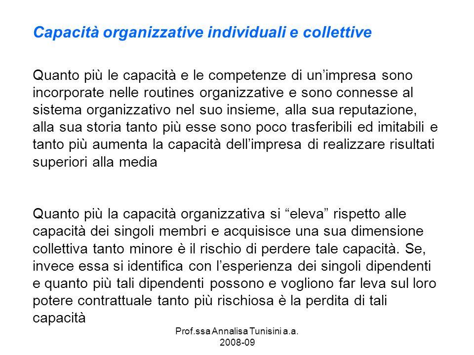 Prof.ssa Annalisa Tunisini a.a. 2008-09 Quanto più le capacità e le competenze di unimpresa sono incorporate nelle routines organizzative e sono conne