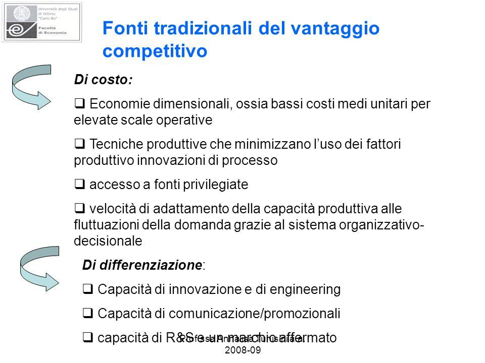 Prof.ssa Annalisa Tunisini a.a. 2008-09 Fonti tradizionali del vantaggio competitivo Di costo: Economie dimensionali, ossia bassi costi medi unitari p