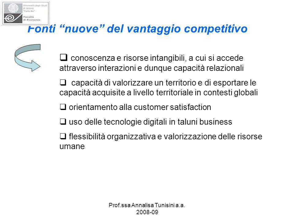 Prof.ssa Annalisa Tunisini a.a. 2008-09 Fonti nuove del vantaggio competitivo conoscenza e risorse intangibili, a cui si accede attraverso interazioni