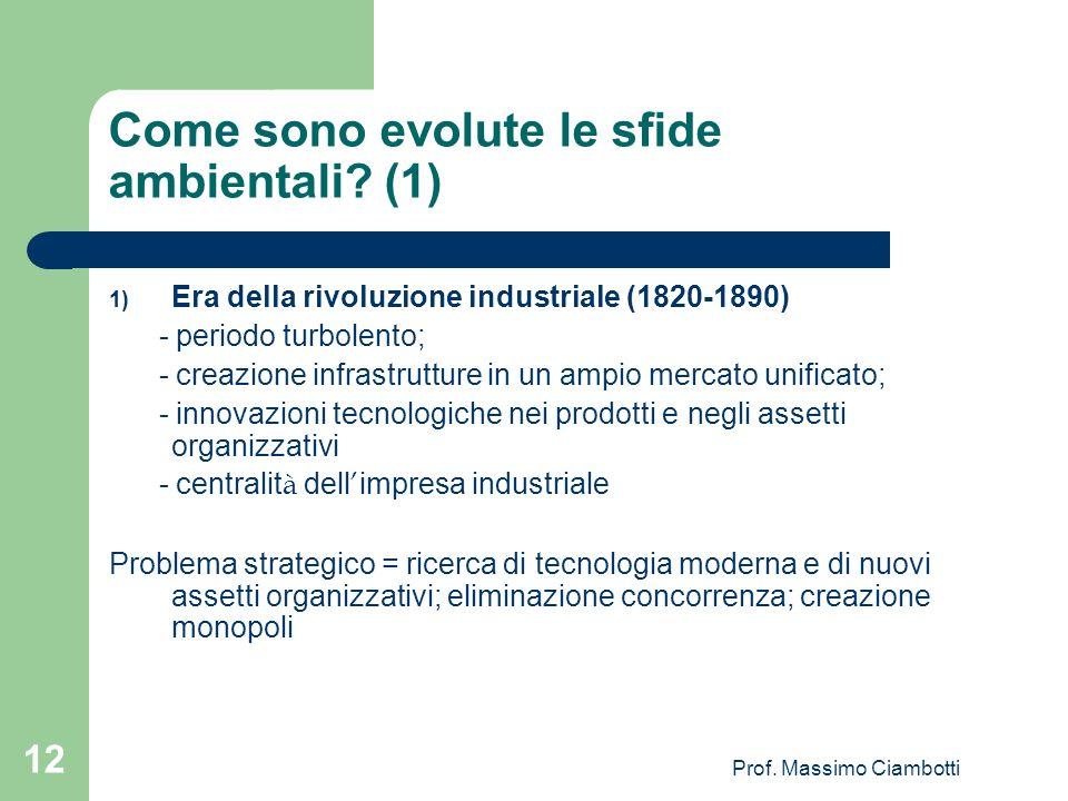 Prof. Massimo Ciambotti 12 Come sono evolute le sfide ambientali? (1) 1) Era della rivoluzione industriale (1820-1890) - periodo turbolento; - creazio