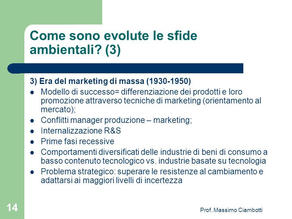 Prof. Massimo Ciambotti 14 Come sono evolute le sfide ambientali? (3) 3) Era del marketing di massa (1930-1950) Modello di successo= differenziazione