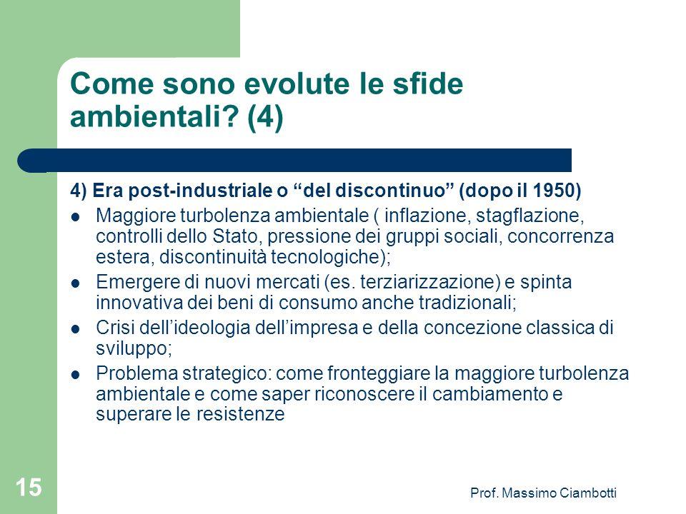 Prof. Massimo Ciambotti 15 Come sono evolute le sfide ambientali? (4) 4) Era post-industriale o del discontinuo (dopo il 1950) Maggiore turbolenza amb