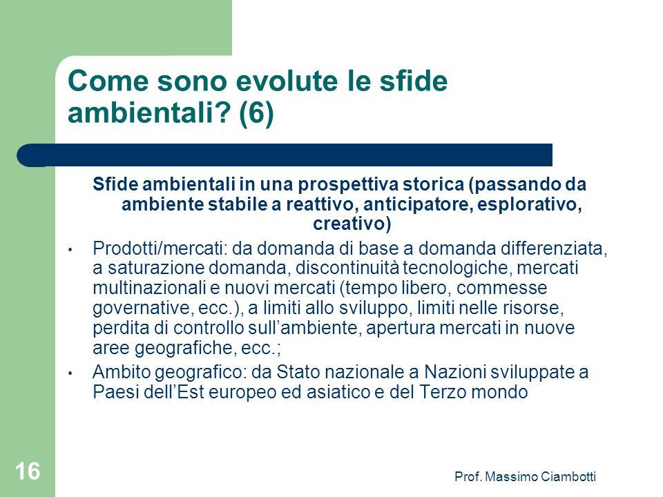 Prof. Massimo Ciambotti 16 Come sono evolute le sfide ambientali? (6) Sfide ambientali in una prospettiva storica (passando da ambiente stabile a reat